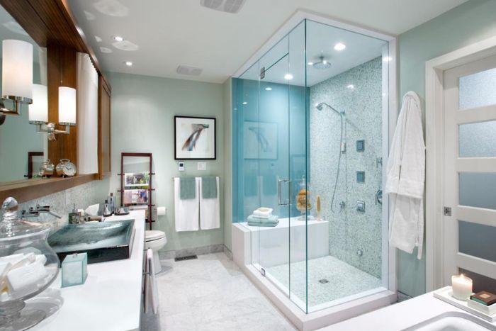 Phòng tắm kính màu xanh mát mắt và ấn tượng