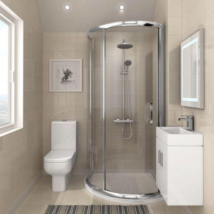Phòng tắm kính đứng cong có cửa mở quay