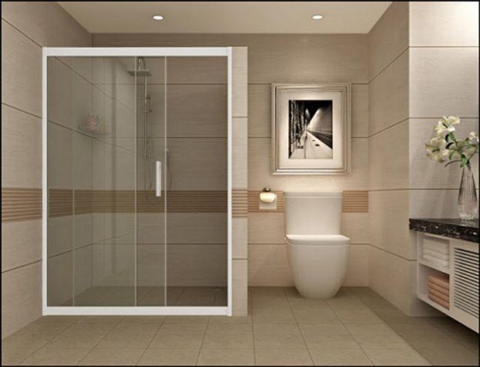 Phòng tắm kính lùa đứng gương tối màu