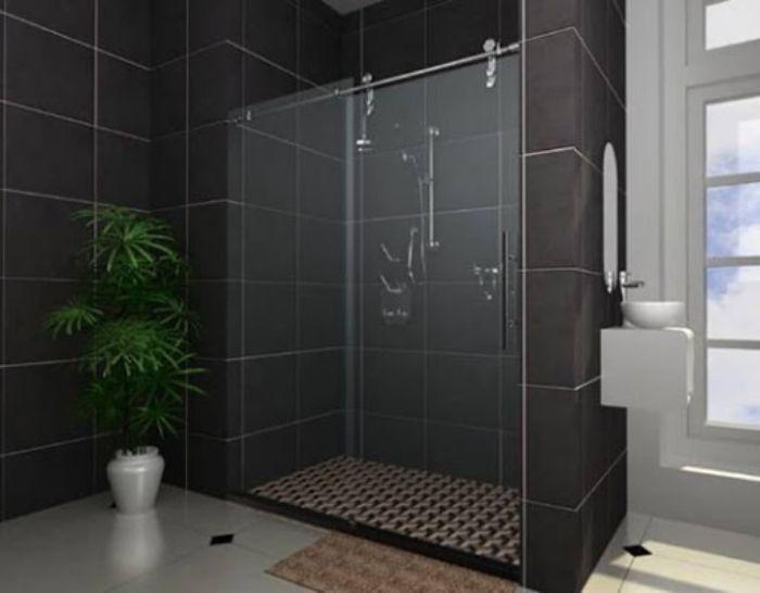 Phòng tắm kính lùa mờ nhẹ với phong cách tinh tế