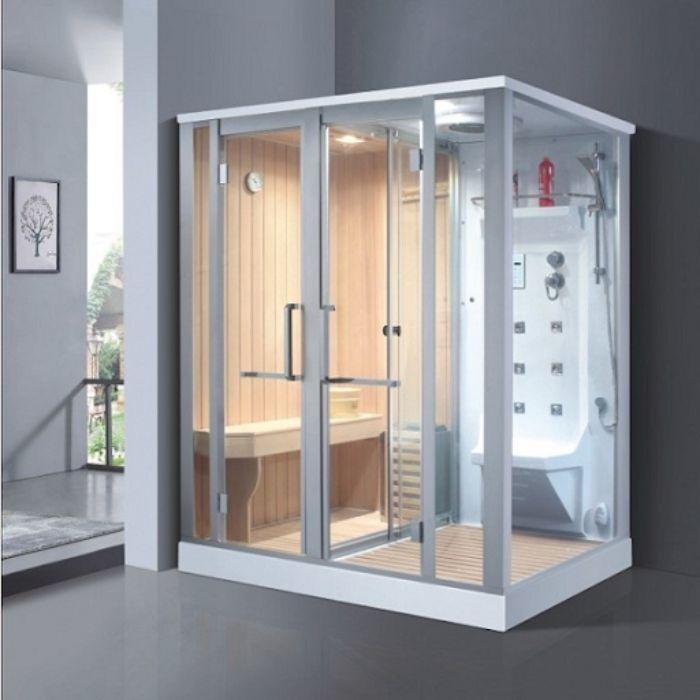 Phòng tắm xông hơi kính màu trắng