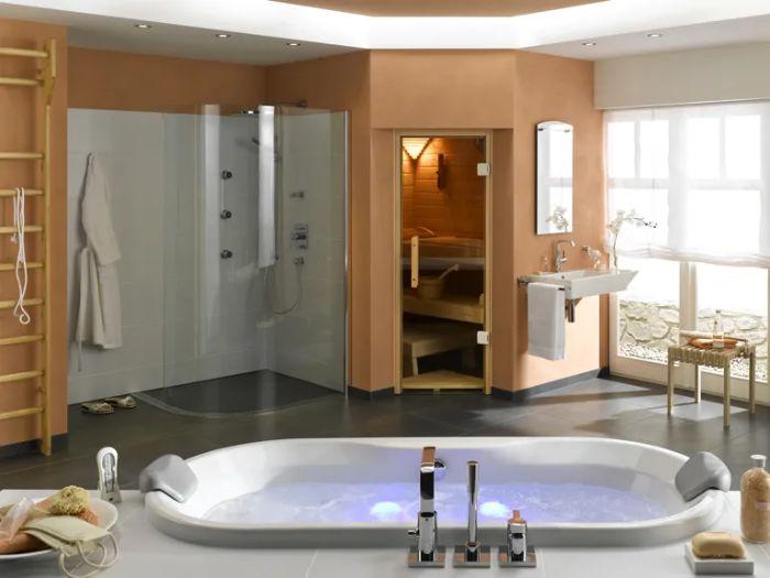 Phòng tắm xông hơi kết hợp nhiều trang thiết bị hiện đại
