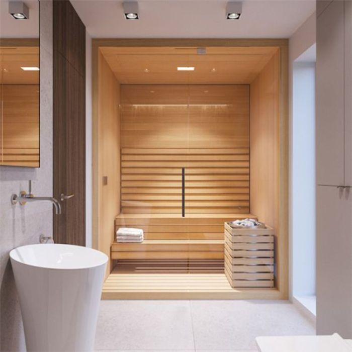 Phòng tắm xông hơi khô bằng gỗ