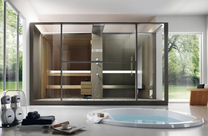 Phòng tắm xông hơi có thiết kế hiện đại, tiện nghi