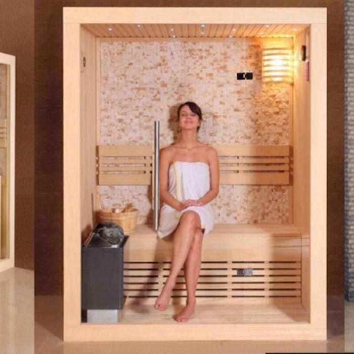 Phòng tắm xông hơi khô bằng gỗ hiện đại