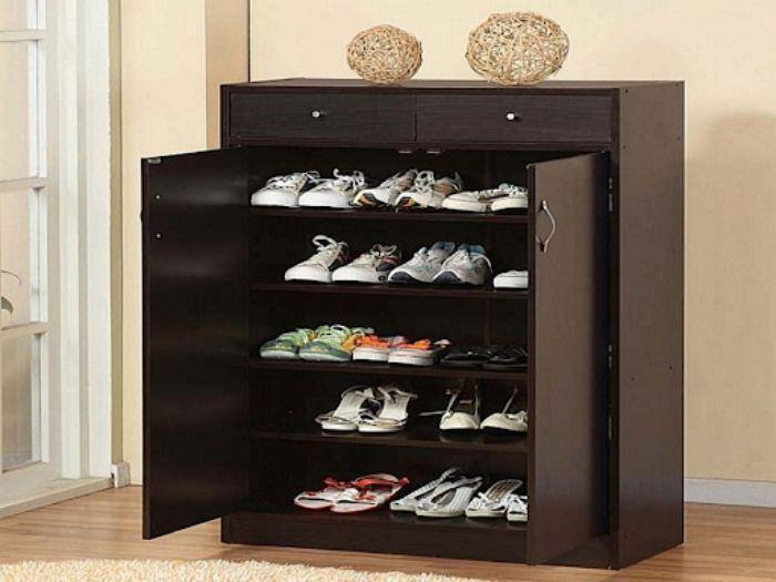 Tủ giày dép nhôm giả vân gỗ có 2 cánh đóng mở tiện lợi