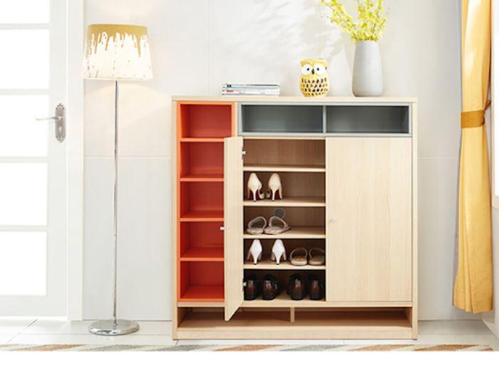 Mẫu tủ giày dép nhôm giả vân gỗ có nhiều ngăn tầng