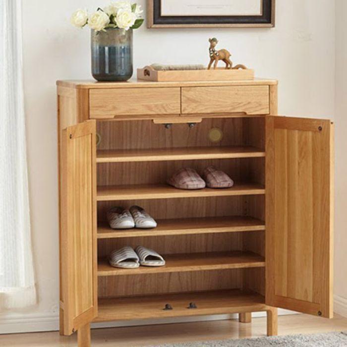 Mẫu tủ nhôm đựng giày dép giả vân gỗ có màu nâu đẹp