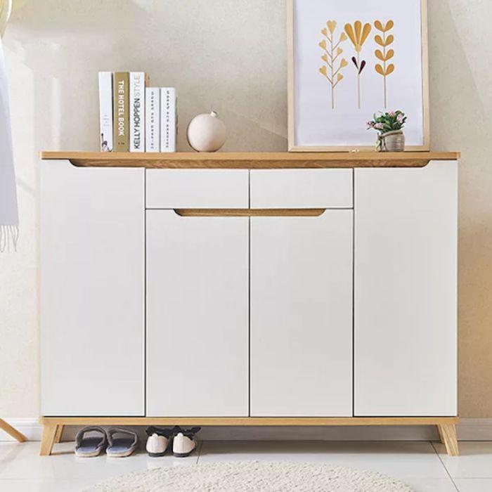 Tủ giày dép nhôm màu trắng kết hợp đựng đồ ở ngăn trên cùng
