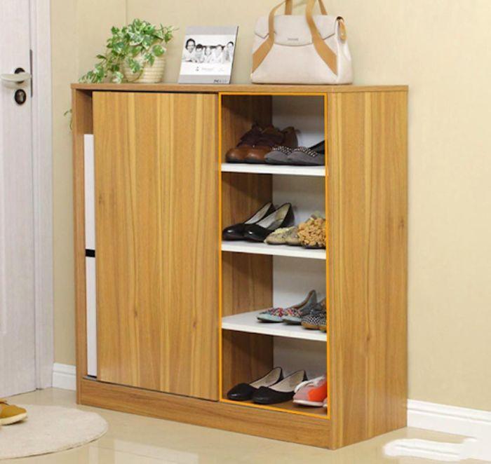 Tủ giày dép nhôm giả vân gỗ có hai ngăn đóng và để mở