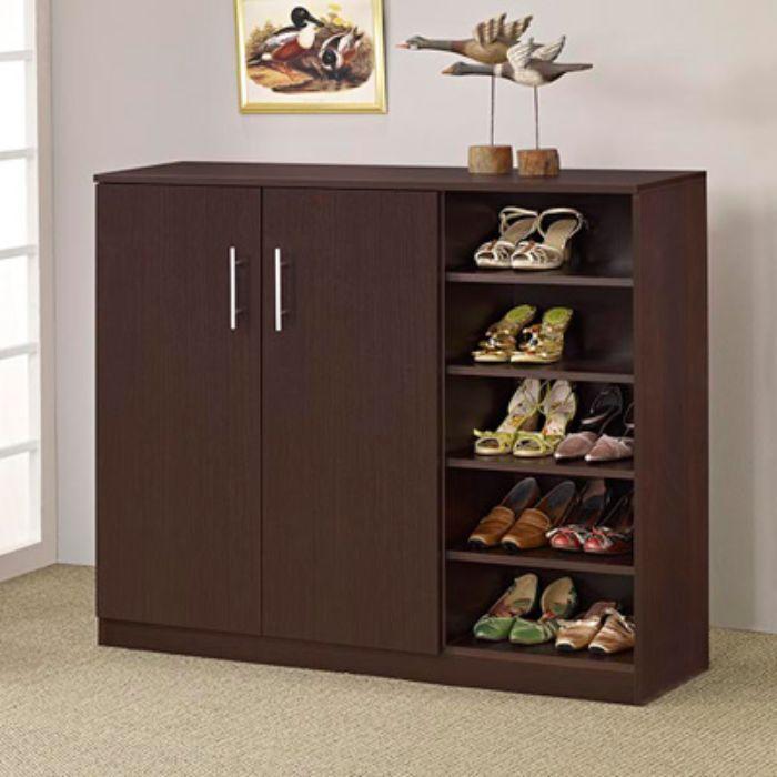 Tủ giày dép nhôm giả vân gỗ màu nâu đen sang trọng
