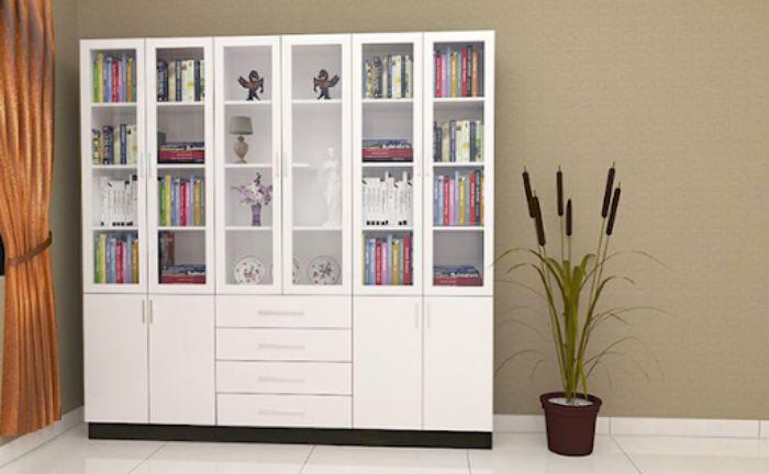 Tủ sách nhôm kính màu trắng cho văn phòng với nhiều ngăn tầng