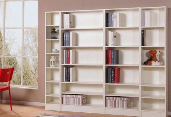 Tủ sách nhôm kính có màu trắng trang nhã cho phòng khách