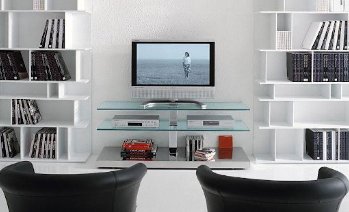 Kệ sách nhôm kính kết hợp tủ tivi cho phòng khách