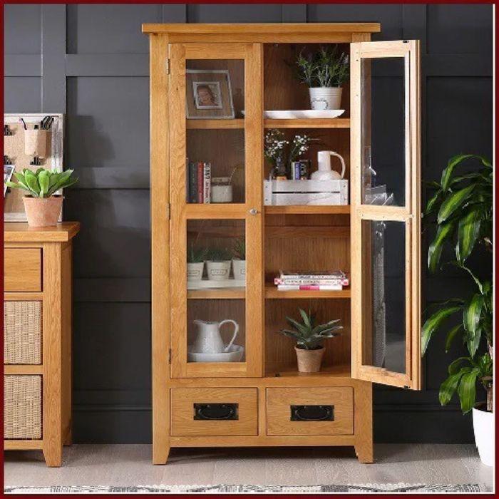 Tủ sách nhôm kính vân gỗ có hai hai cánh