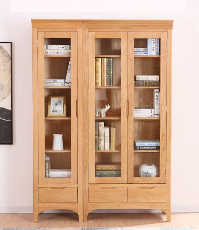 Tủ sách nhôm kính giả gỗ có 3 buồng đựng rộng rãi