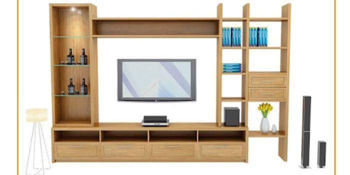 Mẫu tủ nhôm tivi treo tường có màu vân gỗ
