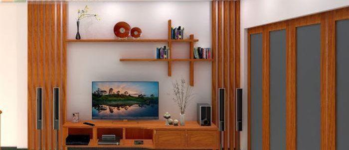 Mẫu tủ tivi nhôm kính giả vân gỗ đẹp