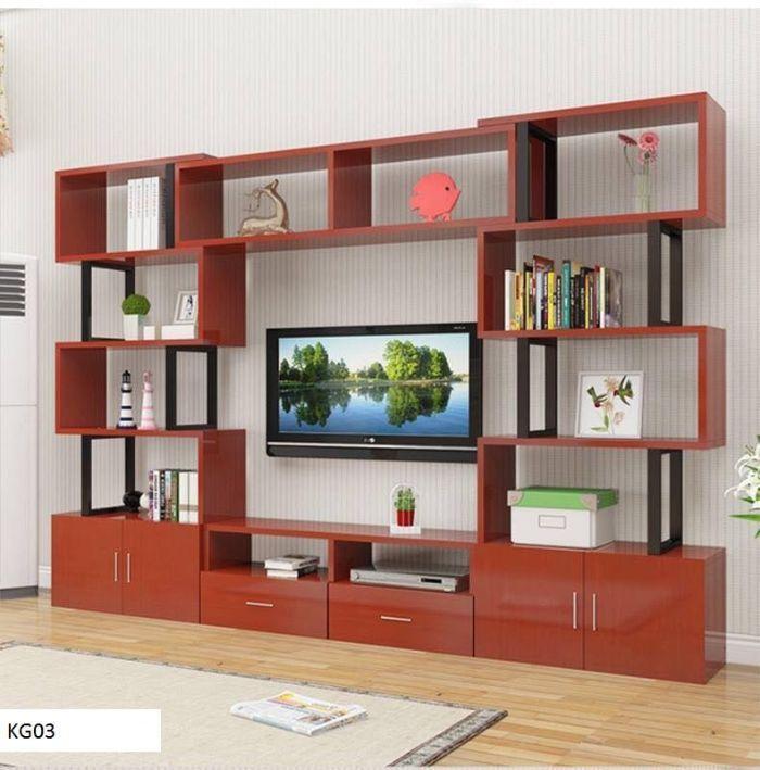 Mẫu tủ nhôm kính đựng tivi kết hợp cùng giá để đồ