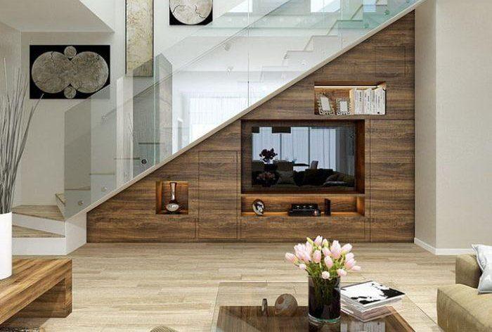 Tủ tivi nhôm kính gầm cầu thang giả vân gỗ