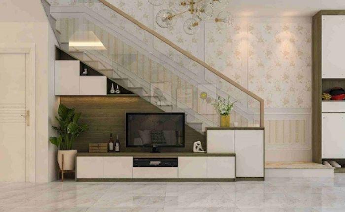 Tủ tivi nhôm kính gầm cầu thang màu trắng trang nhã