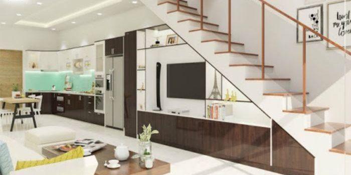 Tủ tivi nhôm kính gầm cầu thang kết hợp với giá sách
