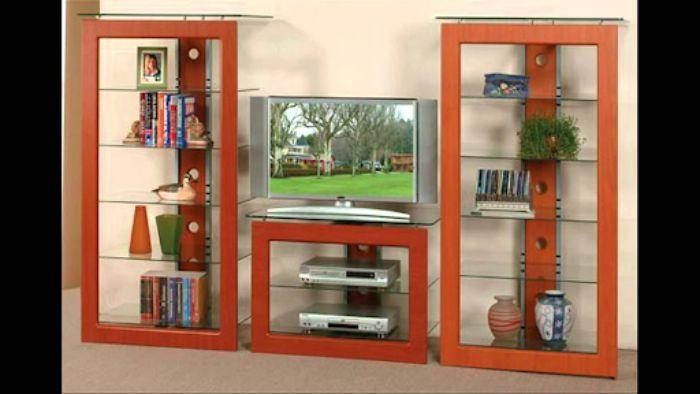 Tủ tivi nhôm kính vân gỗ kết hợp cùng giá để sách
