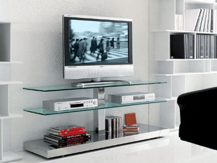 Tủ tivi nhôm kính cường lực có thiết kế tối giản