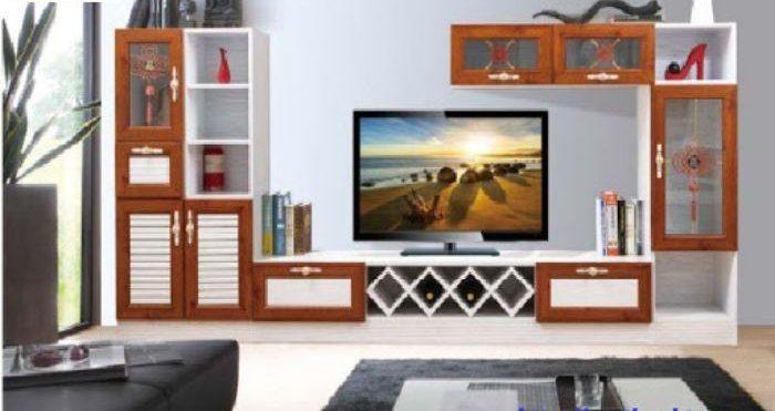 Tủ tivi nhôm kính omega có màu sắc kết hợp giữa vân gỗ và trắng