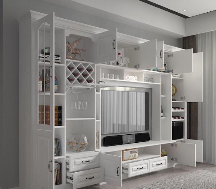 Tủ tivi nhôm kính màu trắng sữa có thiết kế tinh xảo với nhiều ngăn tầng