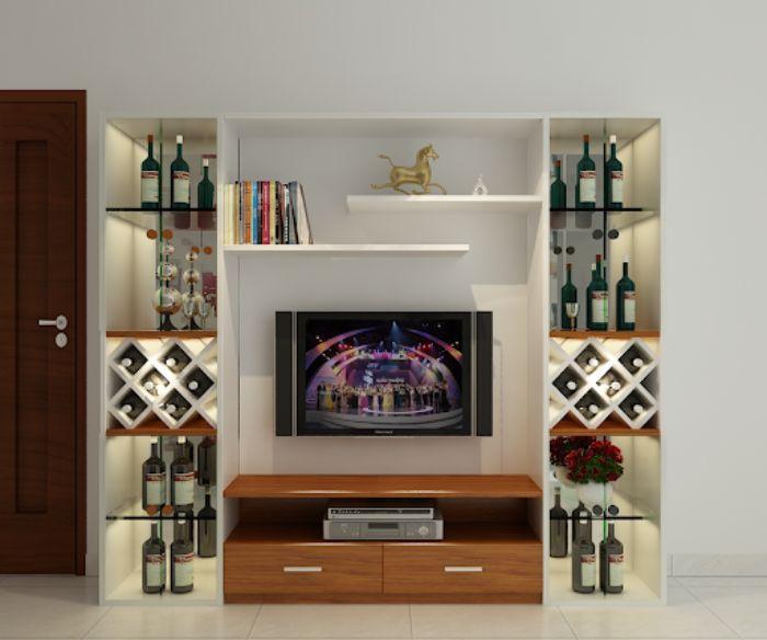 Mẫu tủ tivi nhôm kính kết hợp tủ rượu với nhiều ngăn tầng khác nhau