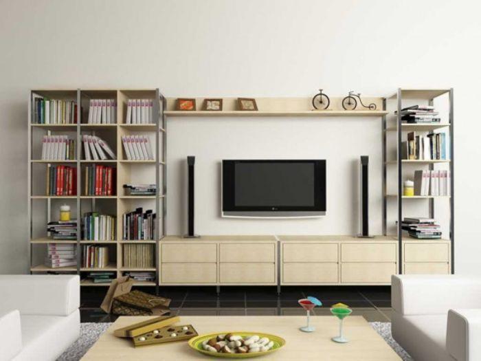 Mẫu tủ tivi nhôm kính kết hợp giá sách có thiết kế trang nhã, cao cấp