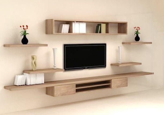 Mẫu tủ nhôm tivi treo tường có thiết kế đơn giản nhưng đẹp mắt