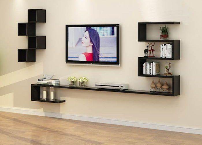 Bộ tủ nhôm tivi treo tường có màu đen sang trọng