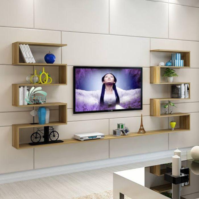 Mẫu tủ nhôm tivi treo tường kết hợp cùng với giá sách và kệ trang trí