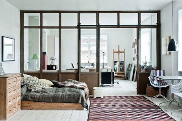 Vách ngăn nhôm kính phòng ngủ với phòng làm việc