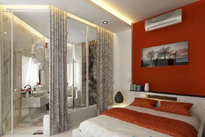 Mẫu phòng tắm kính trong phòng ngủ 135 độ có rèm che