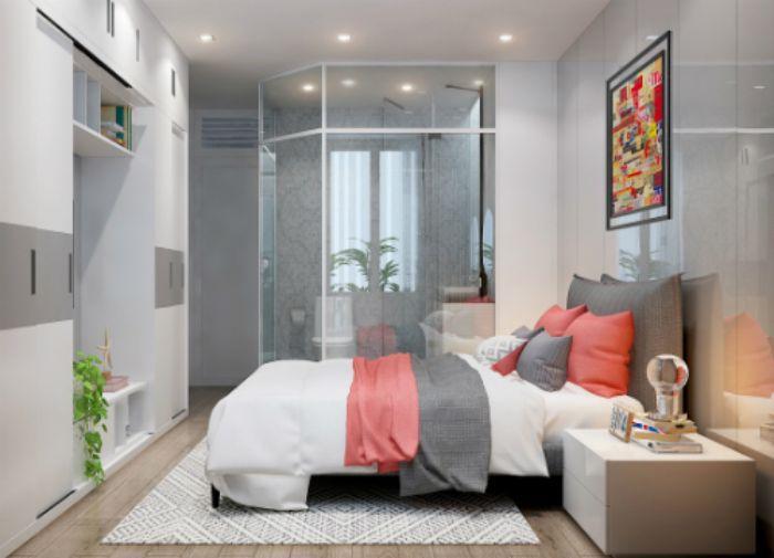 Mẫu phòng tắm kính trong phòng ngủ 135 độ với thiết kế tinh tế
