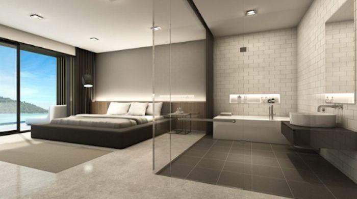 Mẫu phòng tắm kính trong phòng ngủ cửa mở quay thiết kế cao cấp