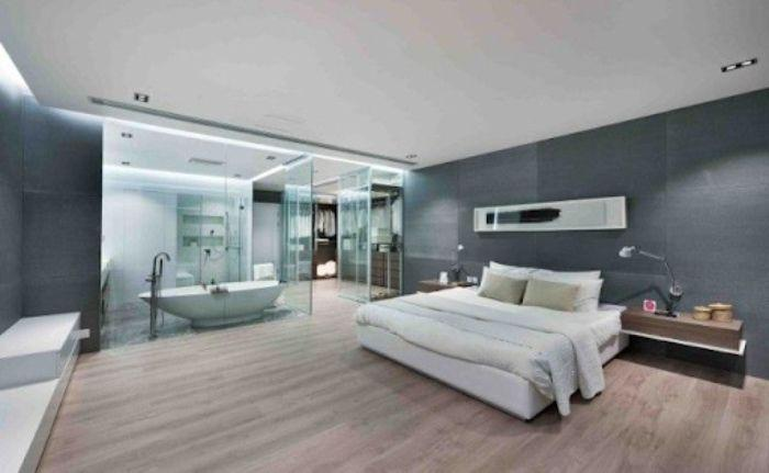 Vách kính tắm phòng ngủ đem đến sự tiện nghi