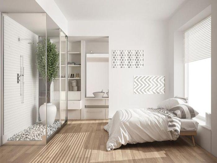 Mẫu phòng tắm kính trong phòng ngủ đứng diện tích nhỏ