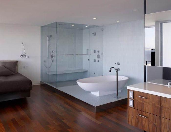 Mẫu phòng tắm kính trong phòng ngủ đứng có thiết kế đơn giản