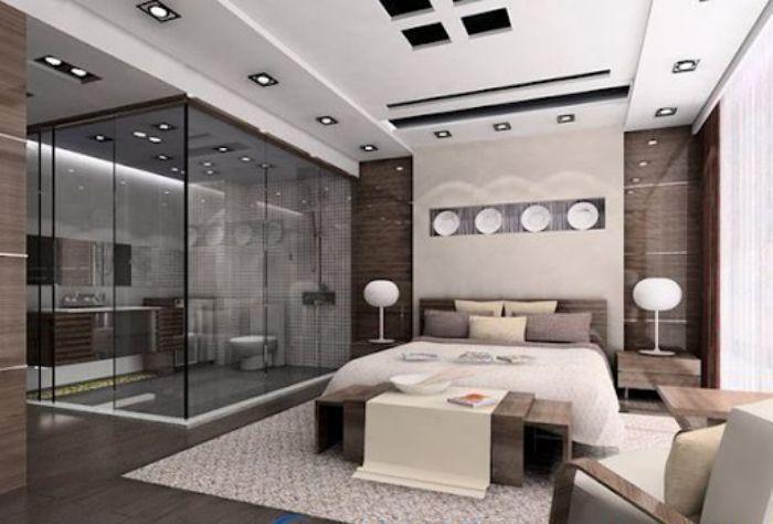 Mẫu phòng tắm kính trong phòng ngủ đứng với không gian sang trọng