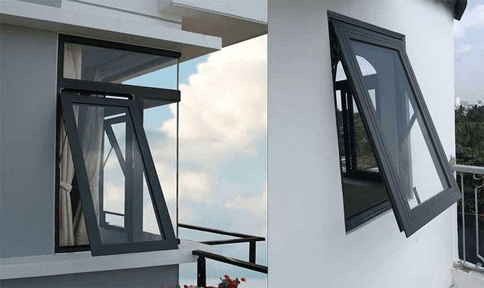 Mẫu cửa sổ mở hất nhôm Xingfa đen tuyền