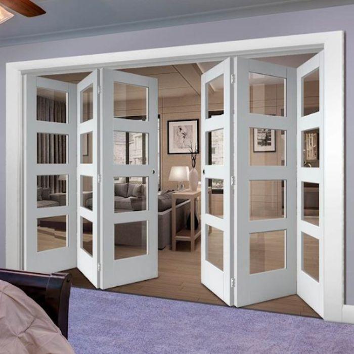 Cửa nhôm kính phòng ngủ 6 cánh