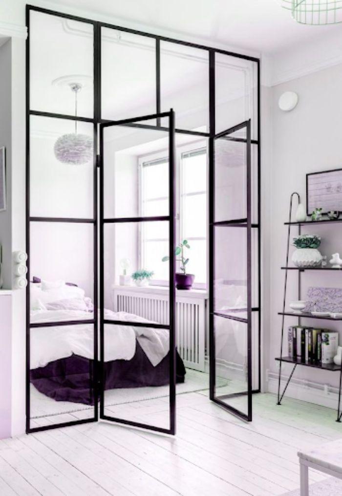 Cửa nhôm kính phòng ngủ màu đen