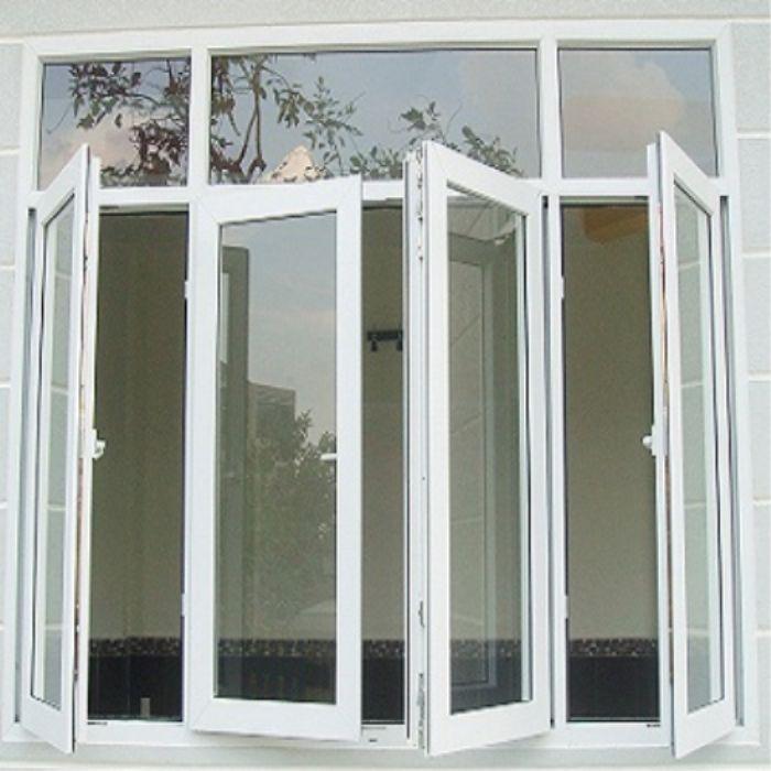 Cửa sổ nhôm kính 4 cánh mở quay màu trắng