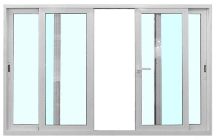 Cửa sổ nhôm kính mở lùa 4 cánh màu trắng