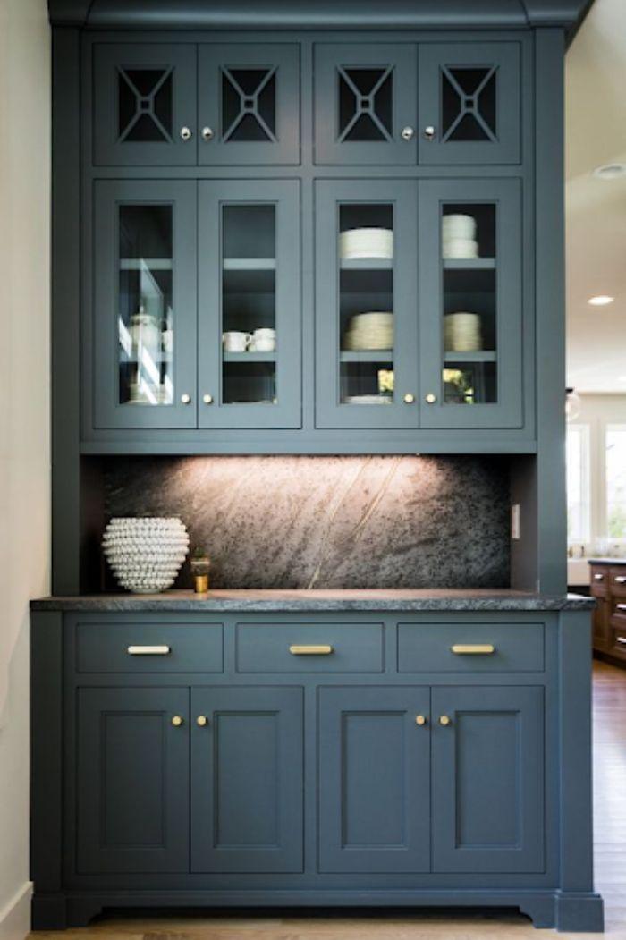 Tủ bếp nhôm kính màu đen