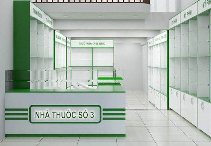 Mẫu tủ thuốc màu xanh lá cây được bố trí khoa học